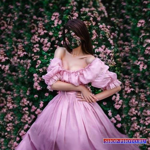 Шаблон для фото - В розовом платье среди цветов