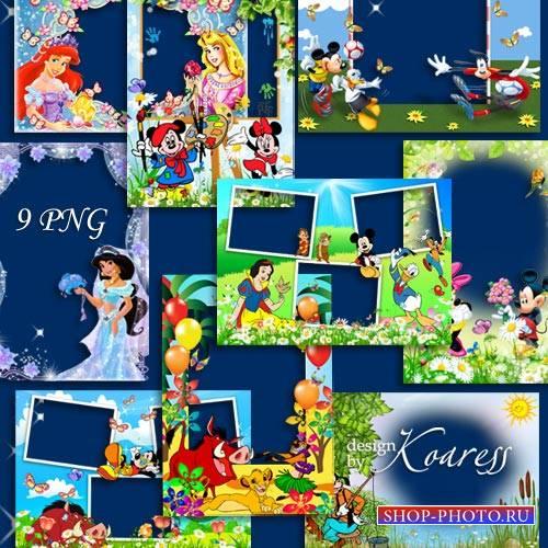 Набор детских png рамок с героями диснеевских мультфильмов - Вместе с верны ...
