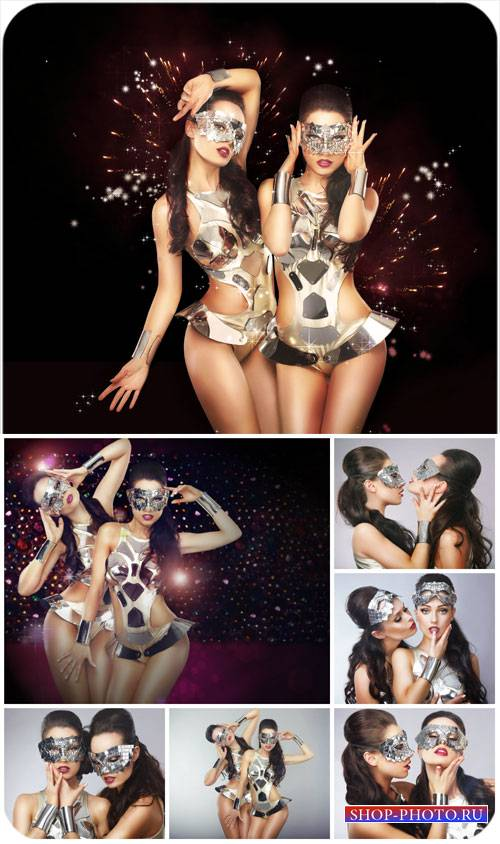 Гламурные девушки в масках / Glamour girls in masks - Stock photo