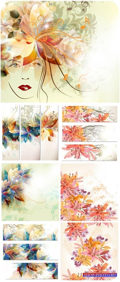 Фоны и баннеры с цветами, лилии в векторе / Backgrounds and Banners with fl ...