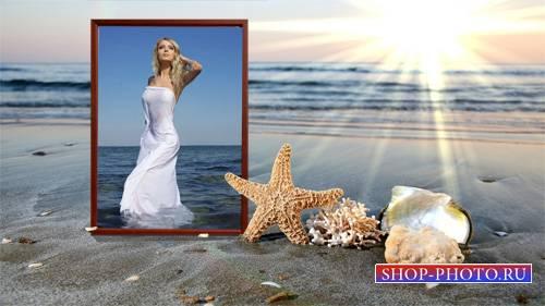 Рамка для фотографии - Закат на морском пляже