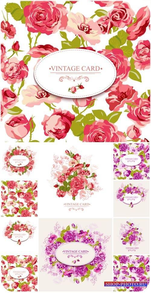 Винтажные векторные карточки с цветами / Vector Vintage card with flowers