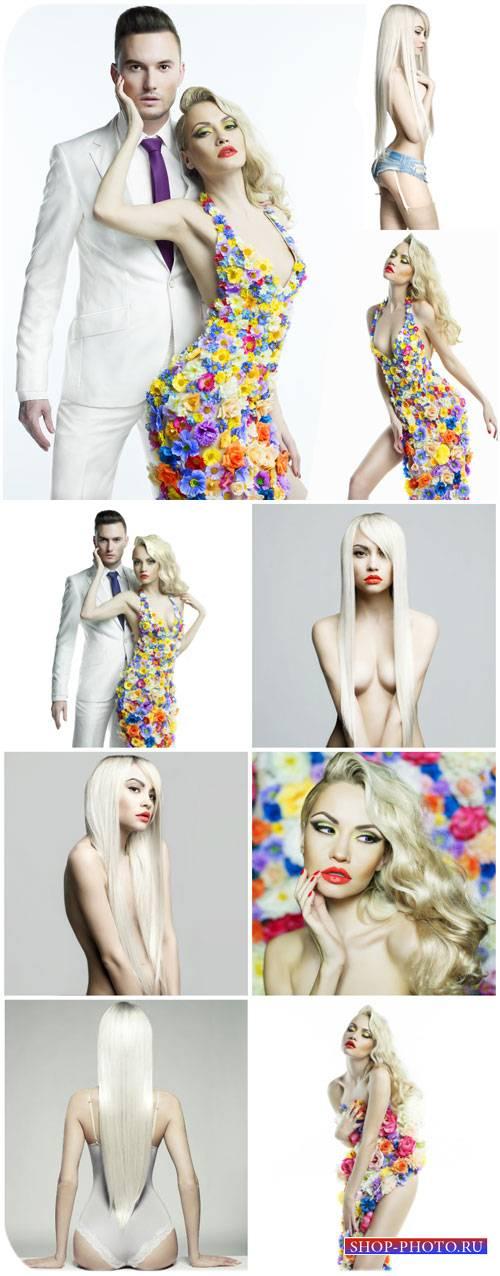 Гламурная пара, стильная девушка / Glamorous couple, stylish girl - Stock P ...