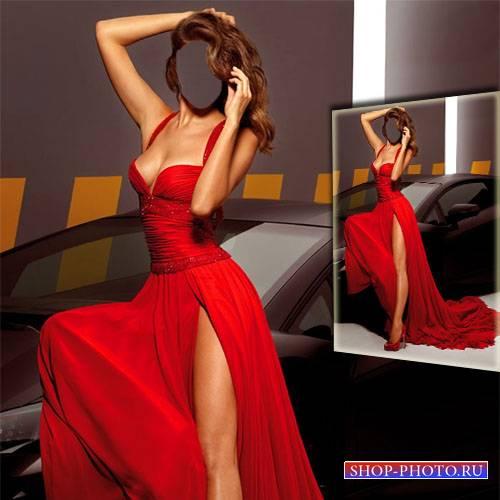 Фотосет в платье возле автомобиля - Шаблон для фотошопа