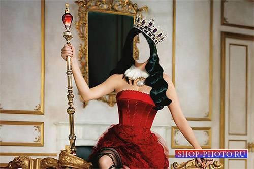 Королева со скипетром и короной - Шаблон psd женский