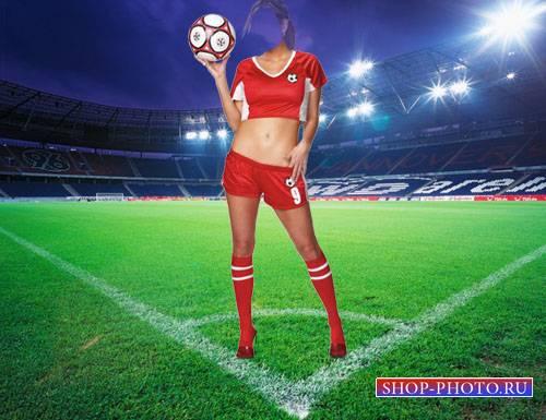 Шаблон psd - Футболистка с мячом на поле