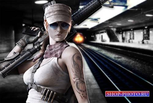 Шаблон для Photoshop - В метро вооруженная девушка