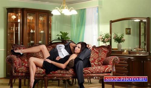 Шаблон для Photoshop - Девушка у вас на руках