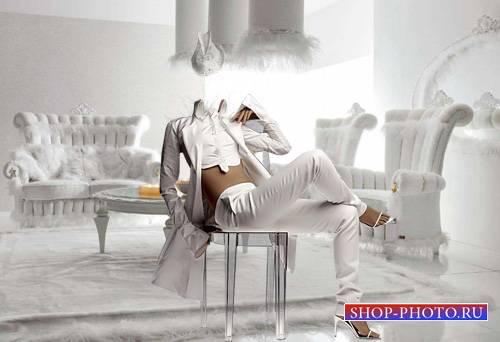 PSD шаблон для девушек - В белоснежном костюме
