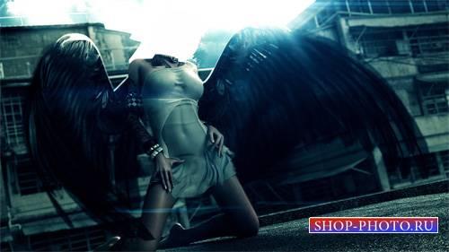 Шаблон для фотошопа - С большими черными крыльями