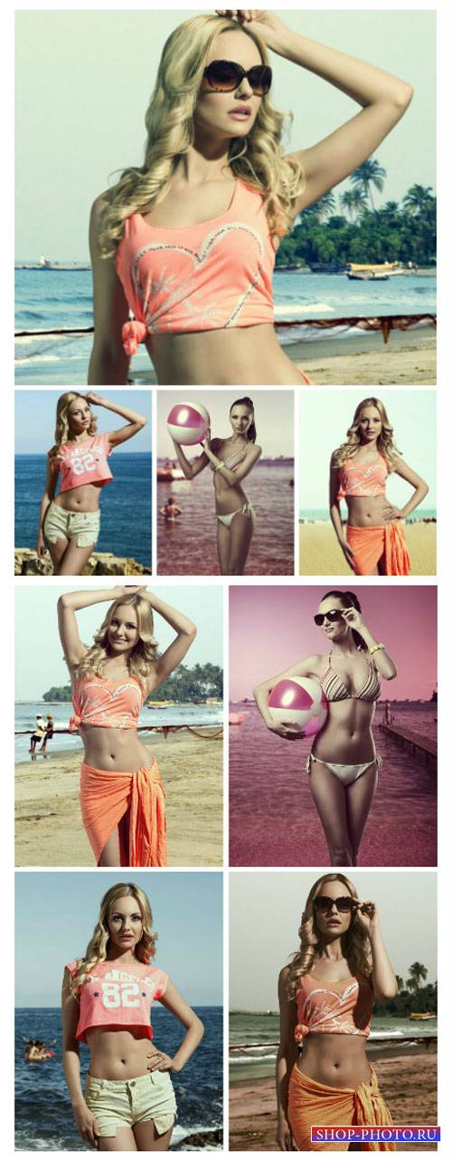 Девушки на море / Girls at the sea, the girl with the ball - Stock Photo