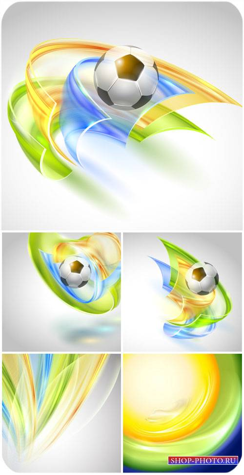 Векторные фоны с футбольным мячом / Vector background with a soccer ball, a ...