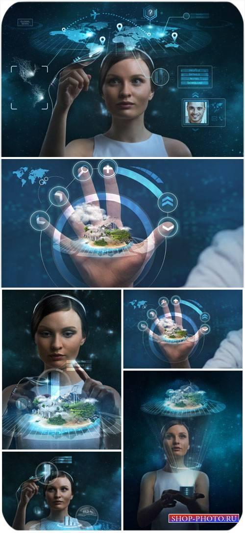 Женщина и современные технологии / Woman and modern technology - Stock phot ...