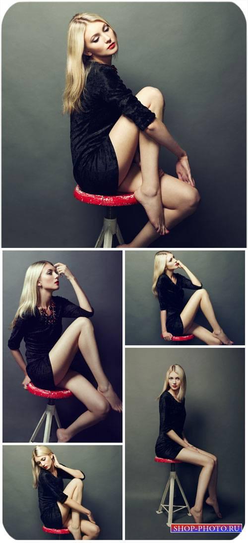 Девушка на стуле / Girl on a chair - Stock Photo