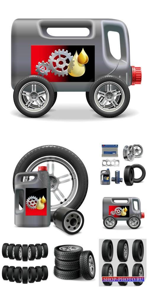 Автомобильные шины, автомобильное масло в векторе / Car tires, motor oil ve ...