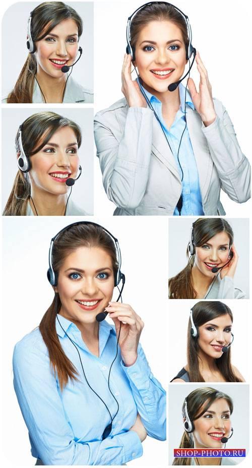 Девушки-операторы, девушка в наушниках / Girls operators, girl with headpho ...