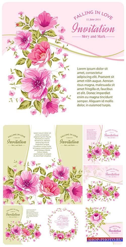 Свадебные приглашения с цветами, векторные фоны / Wedding invitation with f ...