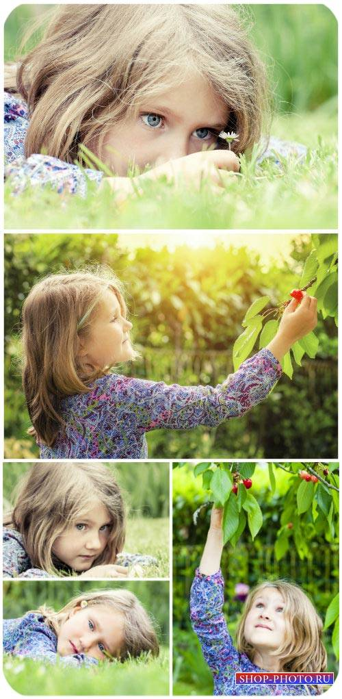 Маленькая девочка с черешней / Little girl with cherries - Stock photo