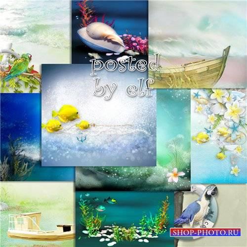 Качественные фоны для создания коллажей на морскую тему