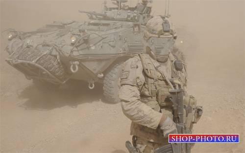 Шаблон psd - Солдат в песчаной бури