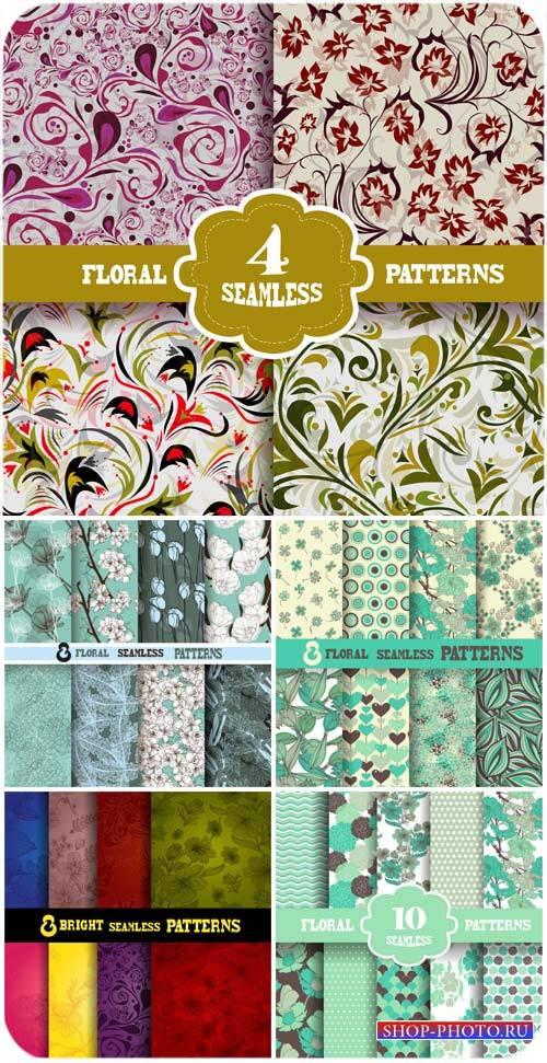 Цветочные текстуры, фоны в векторе / Floral textures, backgrounds vector