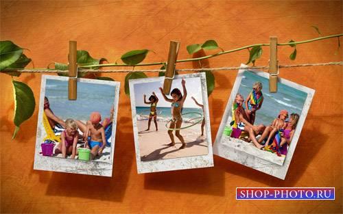 Рамка для фотографии - 3 фото на веревочке