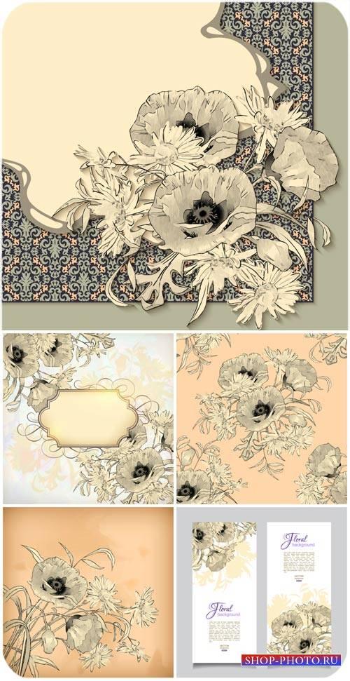 Винтажные векторные фоны с маками / Vintage vector background with poppies