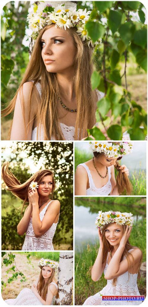Девушка у березы / Girl at a birch - Stock photo