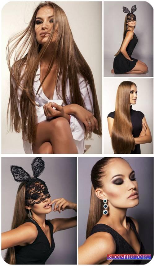 Гламурная девушка в черном платье / Glamour girl in black dress - Stock Pho ...