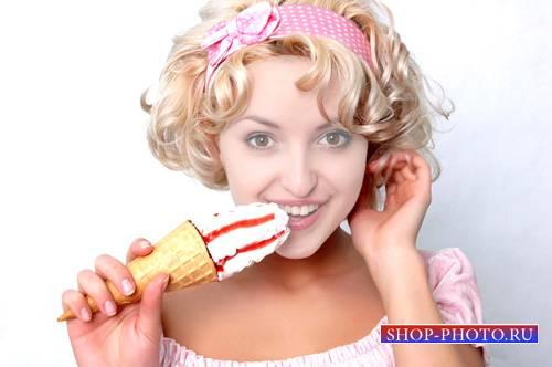 Шаблон женский - Кудрявая блондинка с вкусным мороженком