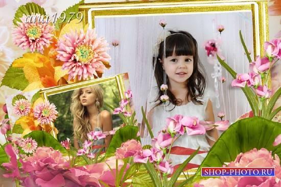 Рамка для фотошопа – Любимые цветы