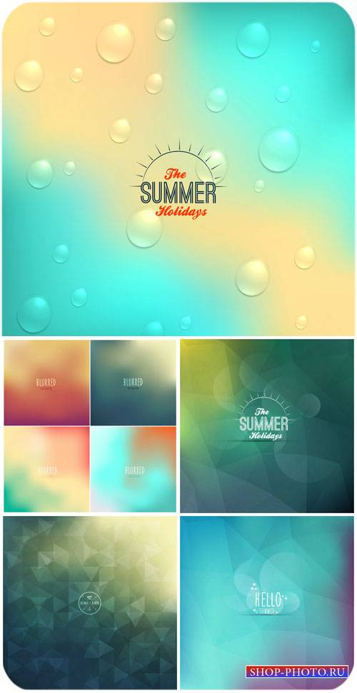 Летние векторные фоны голубых оттенков / Summer vector backgrounds blue sha ...