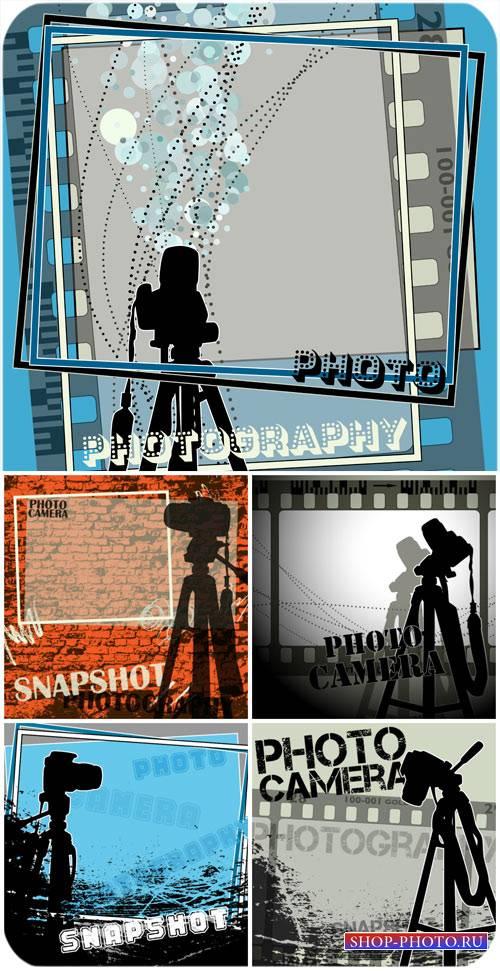 Фотокамера, векторные фоны / Camera, vector backgrounds