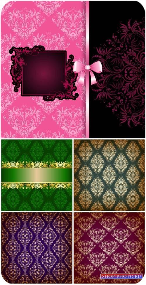 Цветные винтажные фоны с узорами, вектор / Colored backgrounds with vintage ...