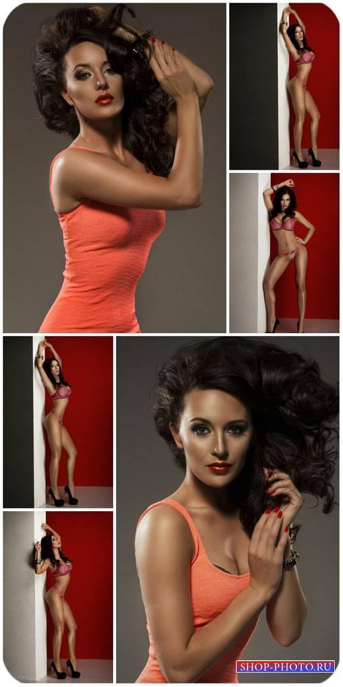 Темноволосая женщина в нижнем белье / Dark-haired woman in lingerie - Stock ...