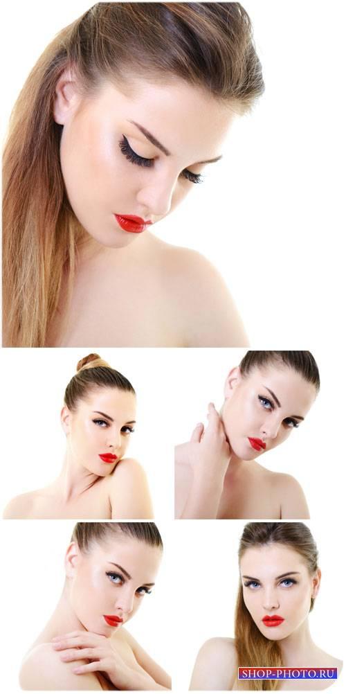 Красивая девушка с красной помадой / Beautiful girl with red lipstick - Sto ...