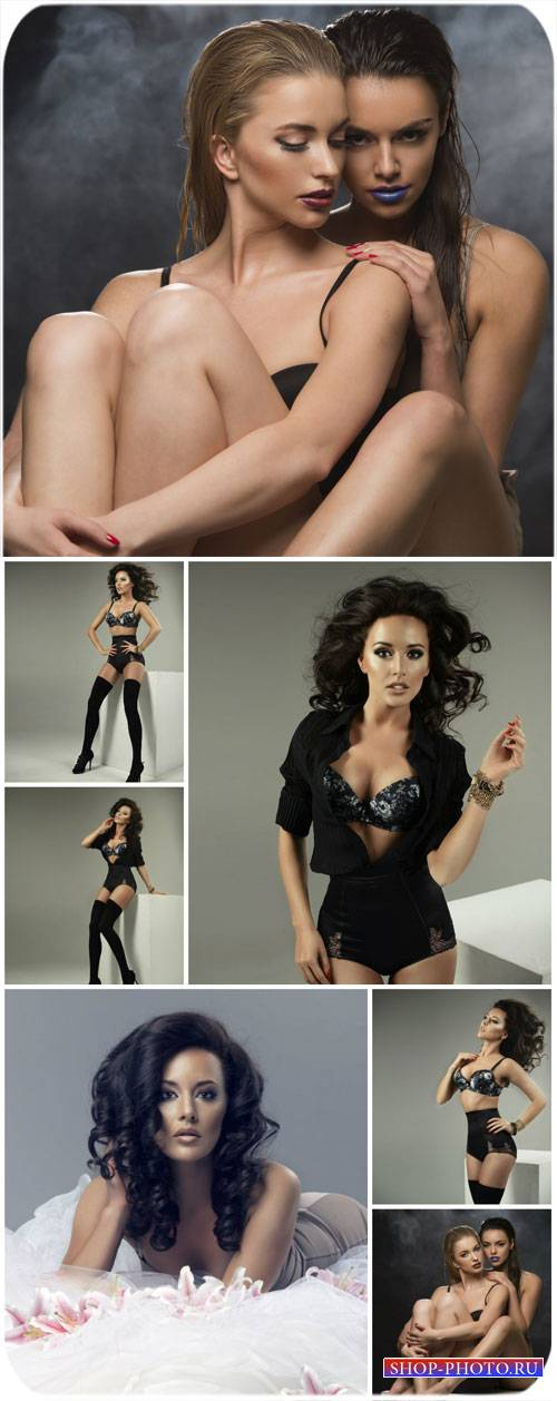 Модные девушки в нижнем белье / Fashionable girl in lingerie - Stock Photo