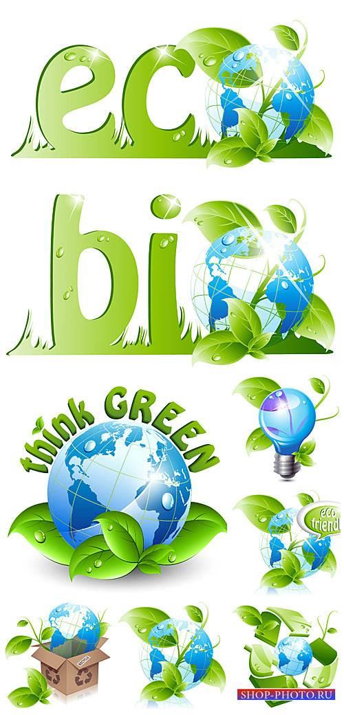 Эко элементы в векторе, планета с зелеными листьями / Eco elements, vector  ...