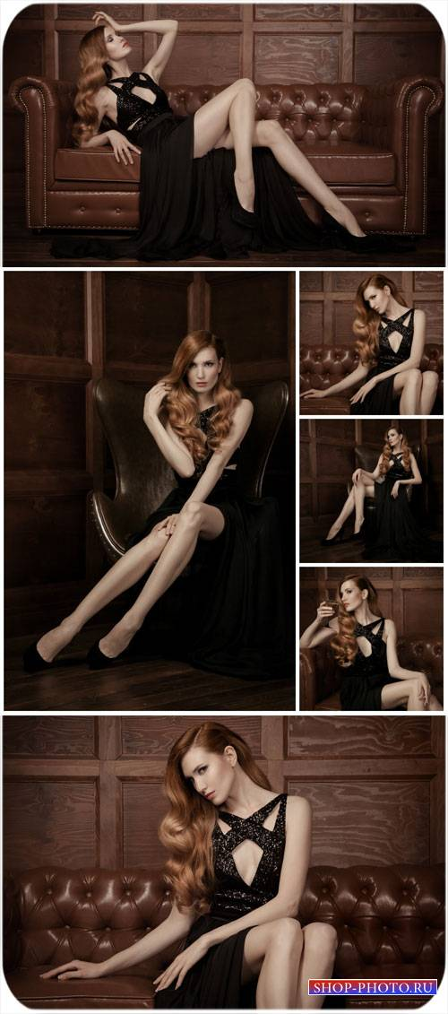 Девушка на кожаном диване / Girl on a leather sofa - Stock Photo