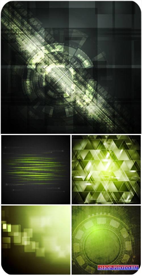 Темные векторные фоны с зеленой абстракцией / Dark vector backgrounds with  ...