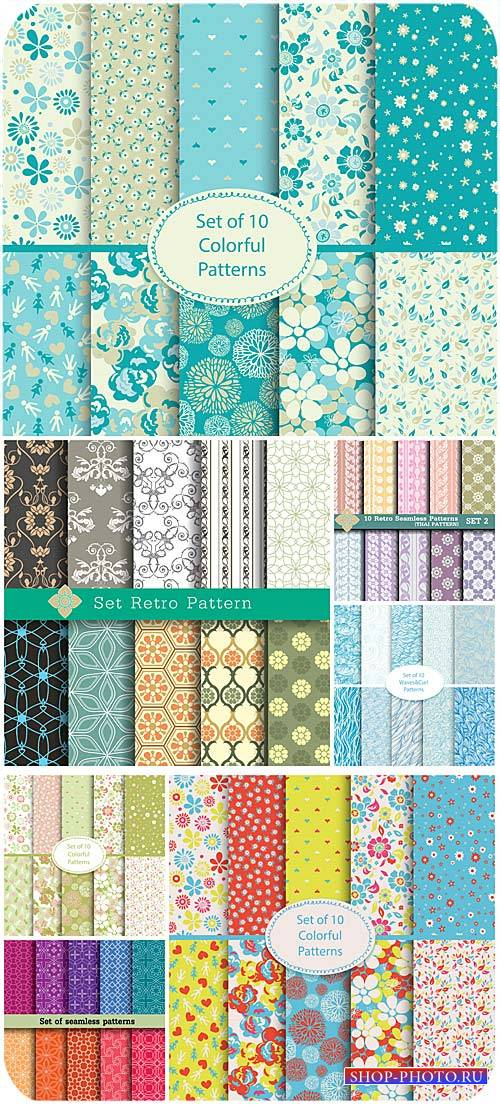 Текстуры в векторе, цветочные, винтаж / Texture vector, floral, vintage