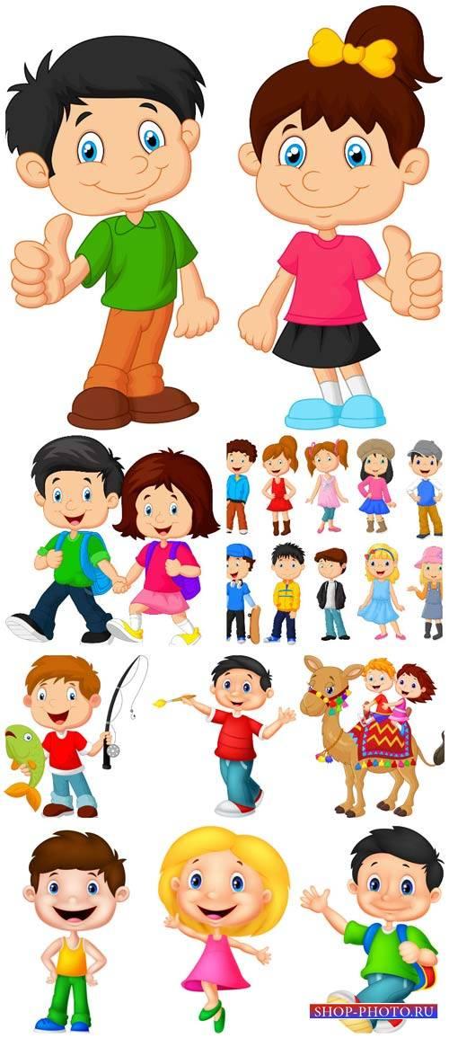 Маленькие дети, мальчики и девочки в векторе / Little kids, boys, girls vec ...