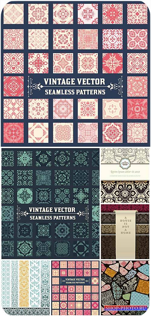 Винтажные векторные фоны, бесшовные узоры / Vintage vector backgrounds, sea ...