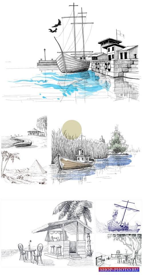 Нарисованые пейзажи, природа в векторе / Painted landscapes, nature vector