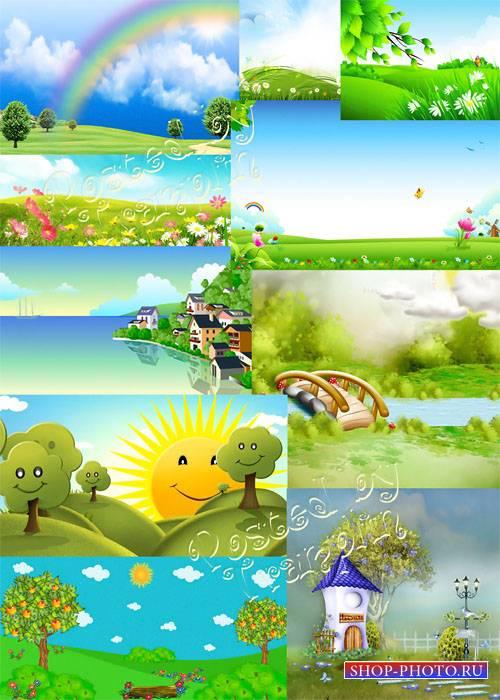 Летние детские фоны - Summer children backgrounds