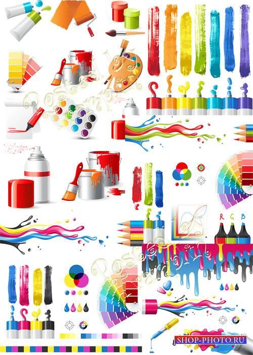 Краски, кисти, тюбики, брызги в векторе