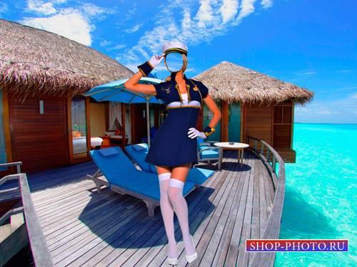 Шаблон для фотошопа  - Девушка в форме у океана