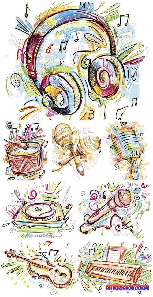 Музыкальные инструменты в векторе, наушники, микрофон  / Musical instrument ...