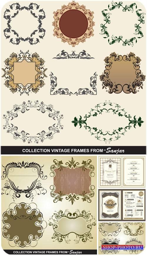 Винтажные рамки, декоративные элементы в векторе / Vintage decorative eleme ...