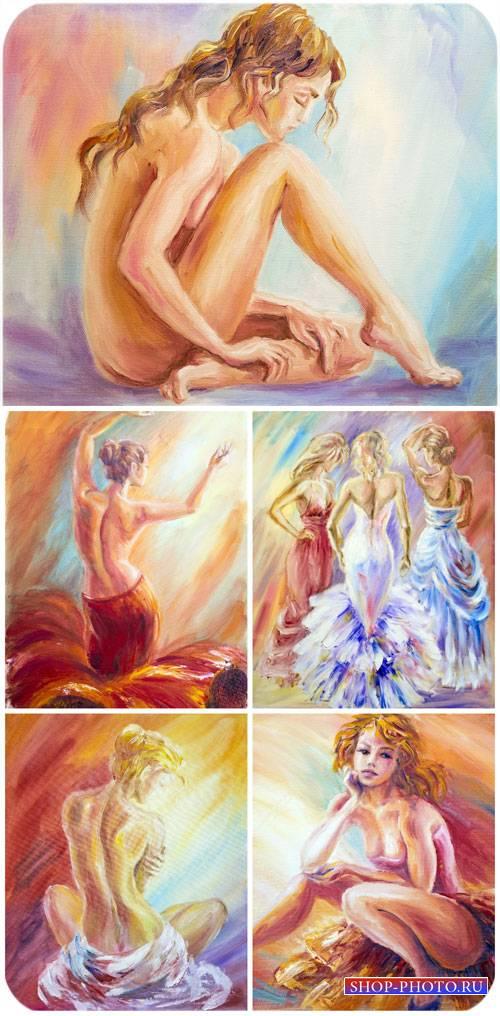 Девушки, арт графика, картины / Girls, art graphics, pictures - stock photo ...